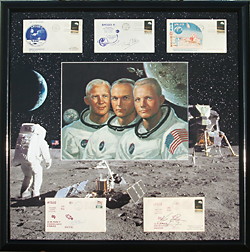The background image was composited from actual NASA photos of the Apollo 11 mission,then printed & cut into the mat for the collector envelopes and Image of the astronauts.